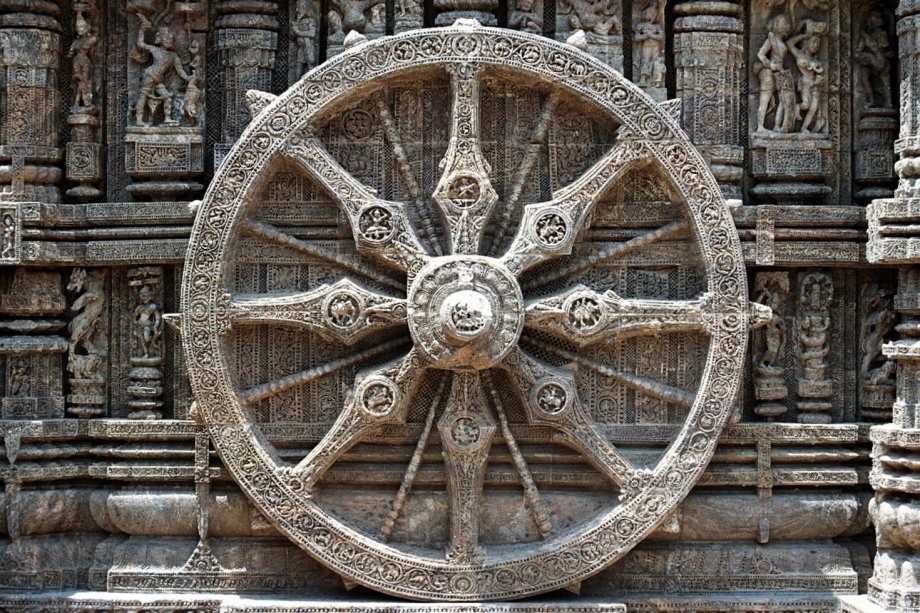 A representation of the Dharmachakra or Buddhist eight-spoked wheel